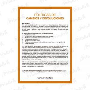 LETRERO PROMART DEVOLUCIONES
